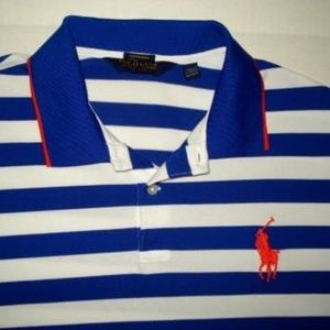New! POLO GOLF Blue & White Striped Big Pony Shirt